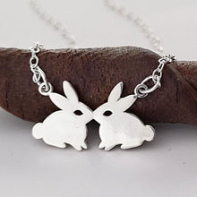 Load image into Gallery viewer, Sterling Silver Kissing Rabbits Necklace -- EF0208