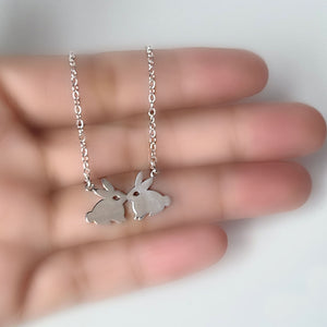 Sterling Silver Kissing Rabbits Necklace -- EF0208