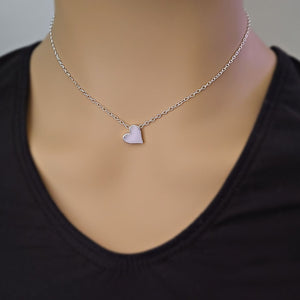 Sterling Silver Heart Bead Necklace -- EF0209