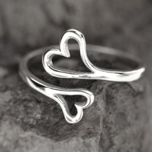 Load image into Gallery viewer, Sterling Silver Adjustable Double Heart Ring -- EF0214