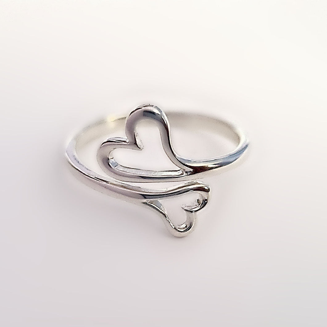 Sterling Silver Adjustable Double Heart Ring -- EF0214