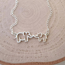 "Load image into Gallery viewer, Sterling Silver Mommy and Me ""Kissing"" Elephants Necklace"