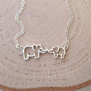 "Sterling Silver Mommy and Me ""Kissing"" Elephants Necklace"