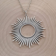 Load image into Gallery viewer, Sterling Silver Spikey Sunburst Pendant -- EF0181
