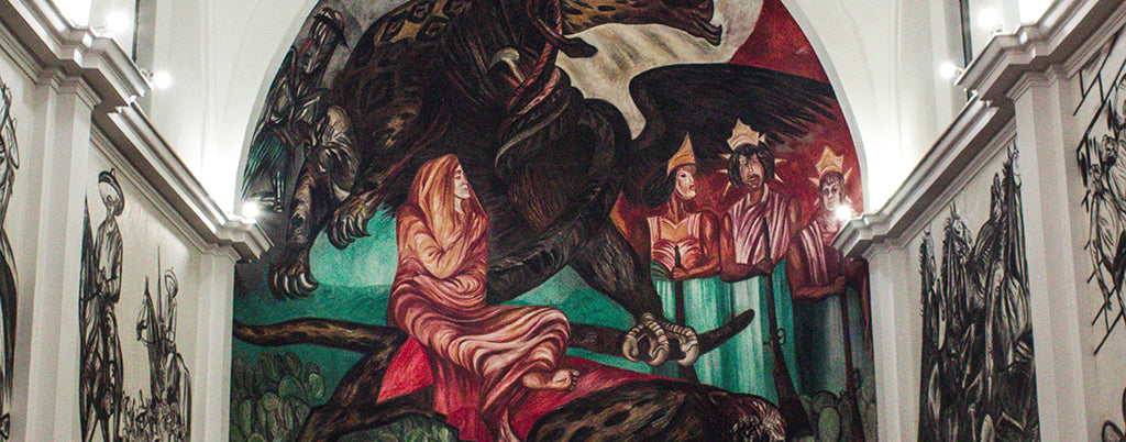 Mural painted by Jose Clemente Orozco in a local library at Michoacan, Mexico