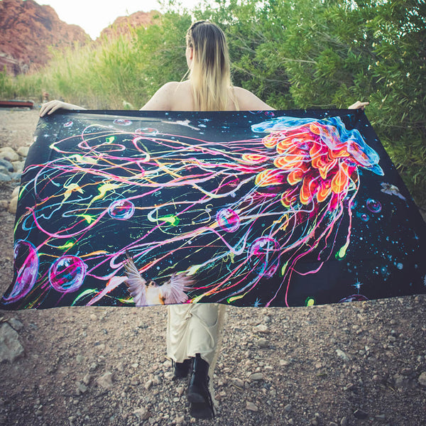 Visionary Artist Black Ink Art Gentle Jelly Trippy Tapestry by Third Eye Tapestries