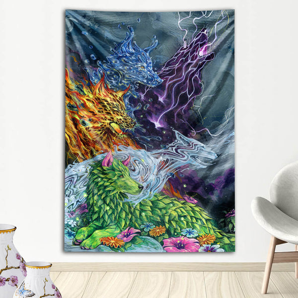 Visionary Artist Black Ink Art Howlin Electric Lemonade Animal Tapestry by Third Eye Tapestries