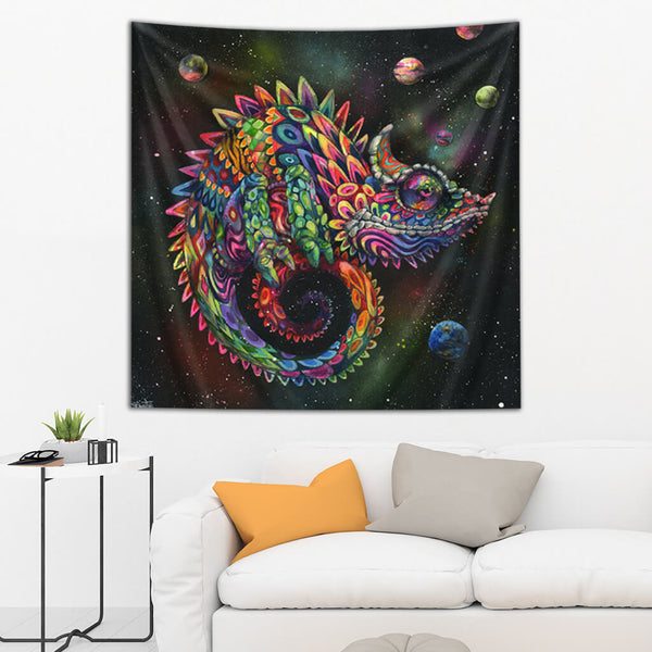 Visionary Artist Black Ink Art Rainbow Herbert Trippy Tapestry by Third Eye Tapestries