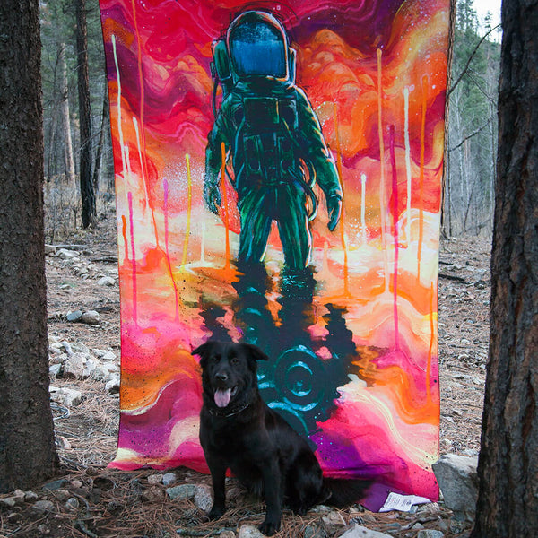 Black Ink Art Spaceman Spliff Hippie Tapestry by Third Eye Tapestries