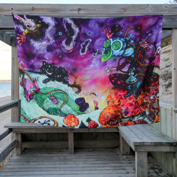 Visionary Artist Black Ink Art Alice in Wonderland Trippy Tapestry by Third Eye Tapestries