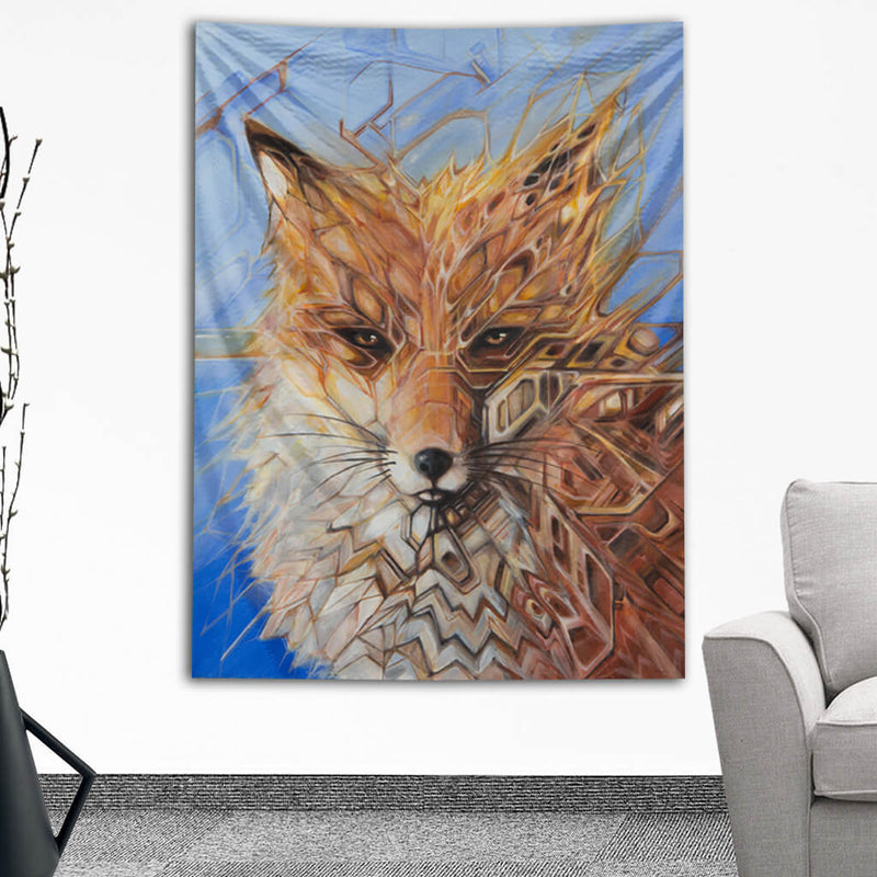 Visionary Artist Gabriel Welch Future Fox Wall Hanging Tapestry by Third Eye Tapestries