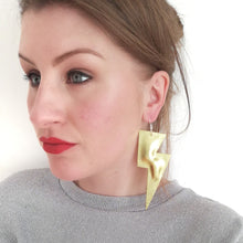 Load image into Gallery viewer, Gold Metallic Leatherette - Super Disco Bolt Oversized Lightning Bolt Earrings
