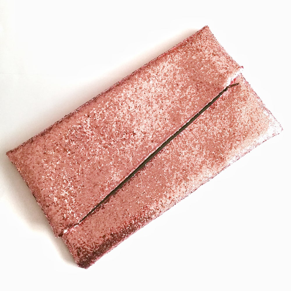 Glitter Disco Envelope Clutch Bags with Rose Gold Glitter Fabric