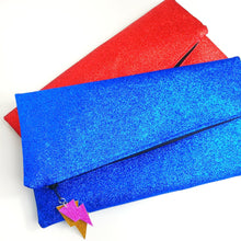 Load image into Gallery viewer, Glitter Disco Envelope Clutch Bags with Lightning Bolt Tags. Red and Blue