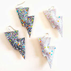 Disco Bolt Lightning Earrings - Glow In The Dark Glitter Collection
