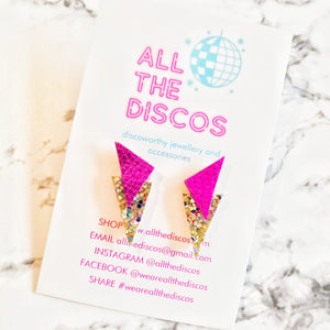 Power Dressing Small Stud Earrings in Gold Glitter and Pink Metallic Leatherette. Hypoallergenic Surgical Steel, 80's