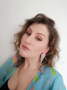 Model wearing Silver and Baby Pink Power Dressing Large Statement earrings. Hypoallergenic Surgical Steel findings, 80's