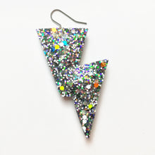Load image into Gallery viewer, Disco Bolt Lightning Earrings - Glow In The Dark Glitter Collection