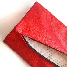 Load image into Gallery viewer, Glitter Disco Envelope Clutch Bags with Red Glitter Fabric open with spotty lining
