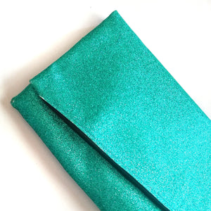 Glitter Disco Envelope Clutch Bags with Aqua Glitter Fabric