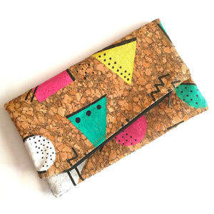 Hand Painted Cork Purses in 80's geometric pattern