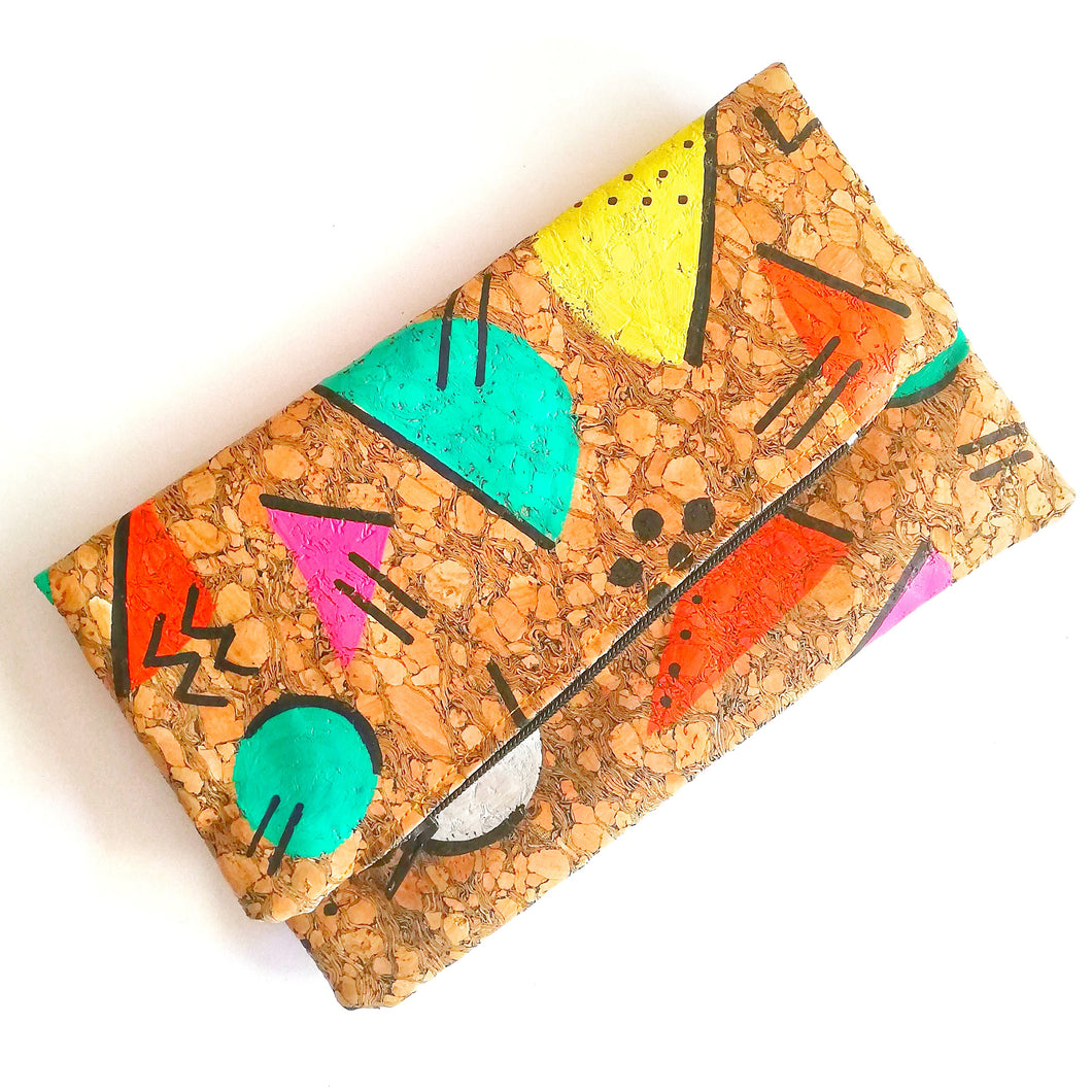 Hand Painted Cork Purses in 80's geometric pattern and lightning bolt tag