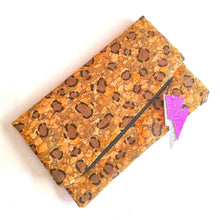 Load image into Gallery viewer, Hand Painted Cork Purses in leopard print with lightning bolt tags