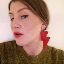 Load image into Gallery viewer, Bright Red Matte Leatherette - Super Disco Bolt Oversized Lightning Bolt Earrings