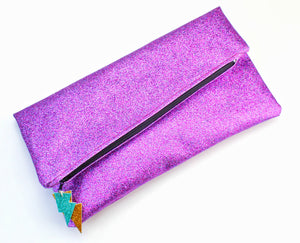 Glitter Disco Envelope Clutch Bags with Purple Glitter Fabric
