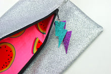 Load image into Gallery viewer, Glitter Disco Envelope Clutch Bags with Silver Glitter Fabric Open with watermelon lining and lightning bolt tags