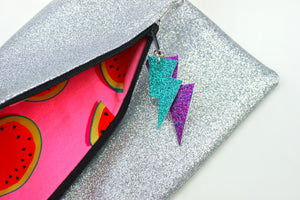Glitter Disco Envelope Clutch Bags with Silver Glitter Fabric Open with watermelon lining and lightning bolt tags