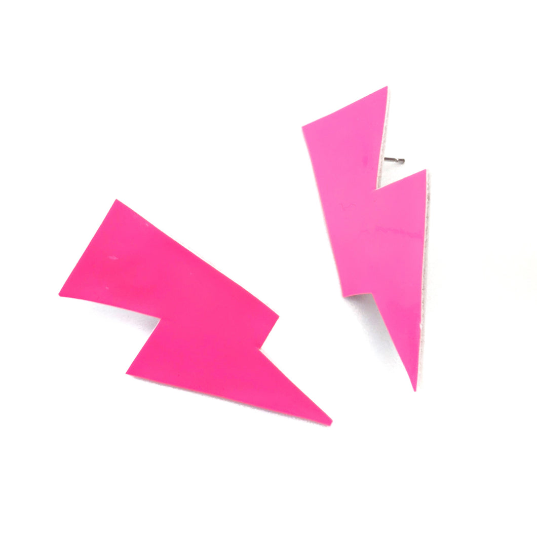 Neon Pink Patent Leatherette - Mini Disco Bolt Stud Lightning Bolt Earrings