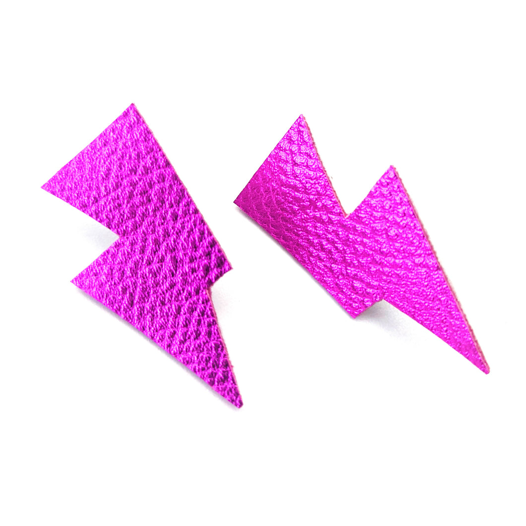 Pink Metallic Leatherette - Mini Disco Bolt Stud Lightning Bolt Earrings
