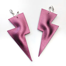 Load image into Gallery viewer, Wine Metallic Leatherette - Super Disco Bolt Oversized Lightning Bolt Earrings