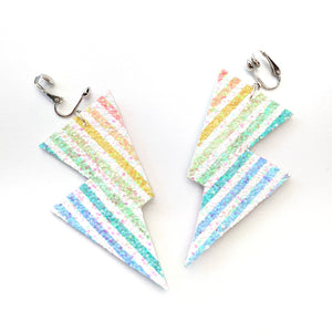 Chunky Rainbow Stripe Glitter - Disco Bolt Lightning Bolt Earrings