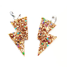 Load image into Gallery viewer, Confetti Gold Glitter - Disco Bolt Lightning Bolt Earrings