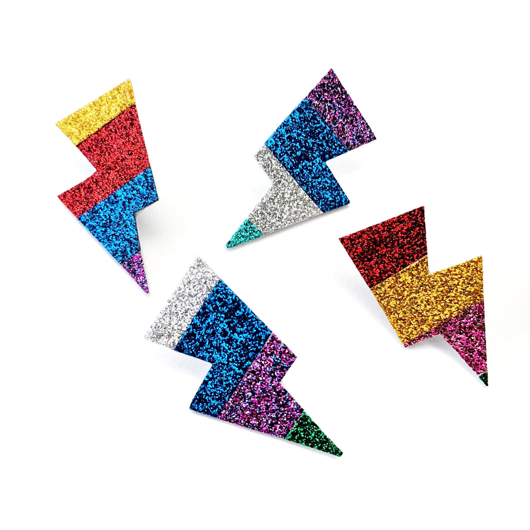 Big Rainbow Glitter - Mini Disco Bolt Stud Lightning Bolt Earrings