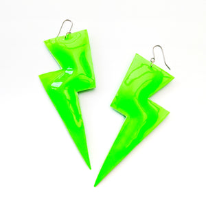 Neon Green Patent Leatherette - Super Disco Bolt Oversized Lightning Bolt Earrings