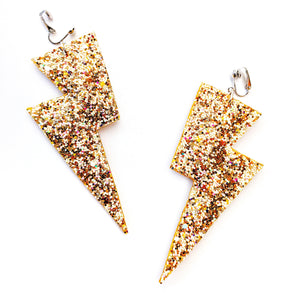 Party Gold Glitter - Super Disco Bolt Oversized Lightning Bolt Earrings