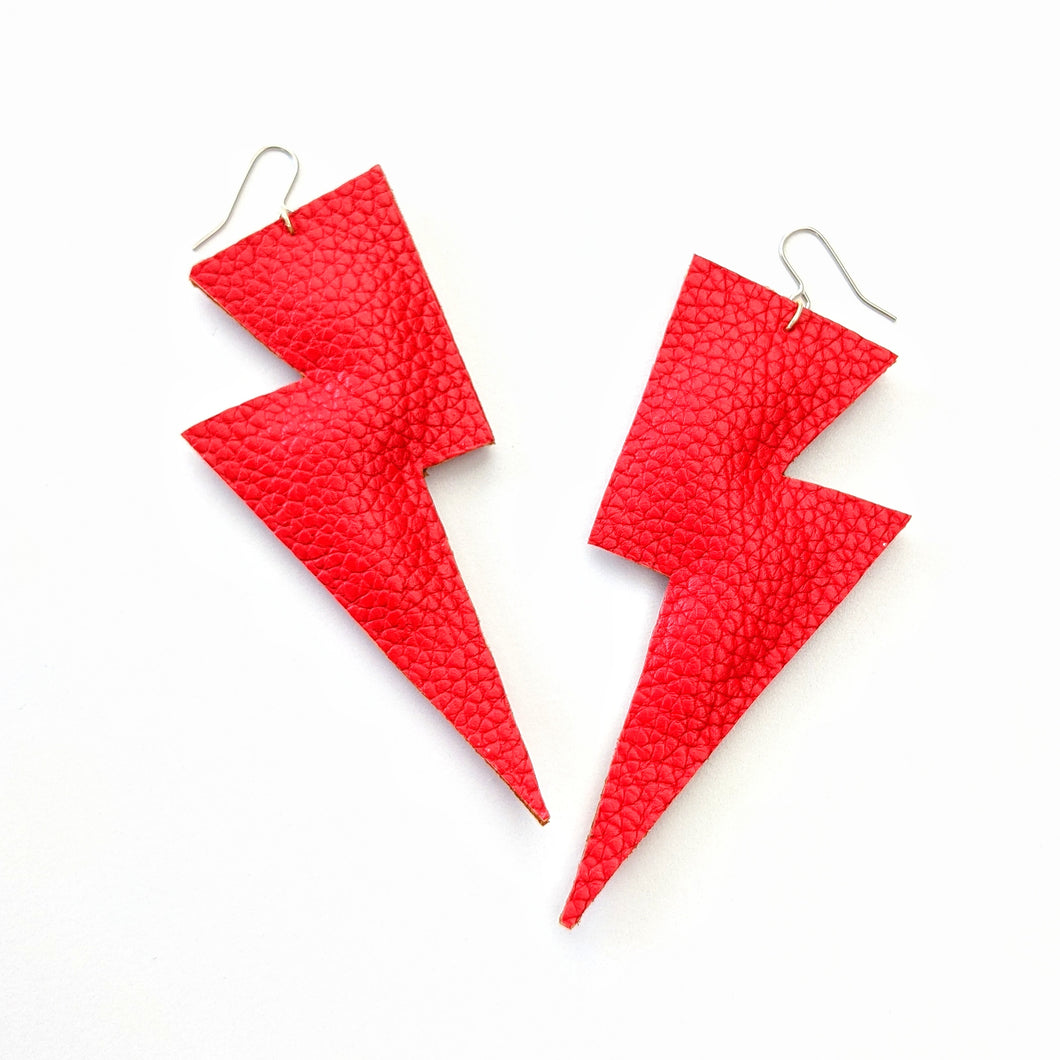 Bright Red Matte Leatherette - Super Disco Bolt Oversized Lightning Bolt Earrings