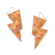 Load image into Gallery viewer, Rainbow Speckled Cork - Disco Bolt Lightning Bolt Earrings