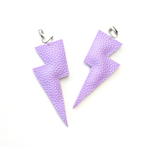 Lavender Matte Leatherette - Super Disco Bolt Oversized Lightning Bolt Earrings