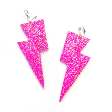 Load image into Gallery viewer, Barbie Pink Glitter - Super Disco Bolt Oversized Lightning Bolt Earrings
