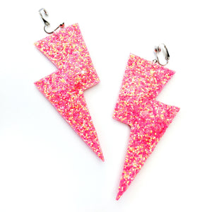Warm Coral Glitter - Super Disco Bolt Oversized Lightning Bolt Earrings