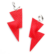 Load image into Gallery viewer, Bright Red Matte Leatherette - Disco Bolt Lightning Bolt Earrings