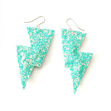 Load image into Gallery viewer, Bright Mint Glitter - Disco Bolt Lightning Bolt Earrings