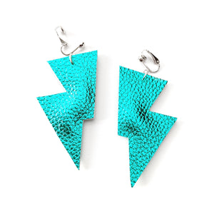 Teal Metallic Leatherette - Disco Bolt Lightning Bolt Earrings