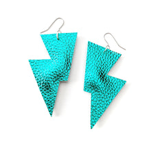 Load image into Gallery viewer, Teal Metallic Leatherette - Disco Bolt Lightning Bolt Earrings
