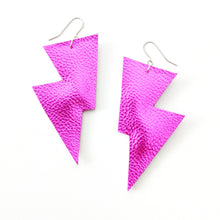 Load image into Gallery viewer, Pink Metallic leatherette - Disco Bolt Lightning Bolt Earrings