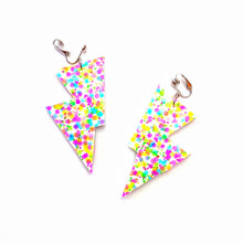 Load image into Gallery viewer, Bright Confetti Glitter - Disco Bolt Lightning Bolt Earrings